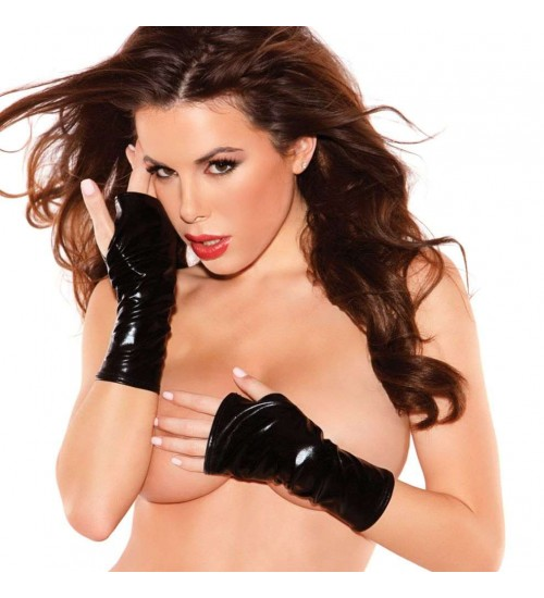 Black Wet Look Fingerless Gloves at Burlesque Diva, Celebrate Burlesque - Costumes, Shoes, and Accessories for Performers