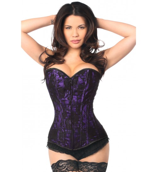 Lavish Purple Lace Overlay Overbust Corset at Burlesque Diva, Celebrate Burlesque - Costumes, Shoes, and Accessories for Performers