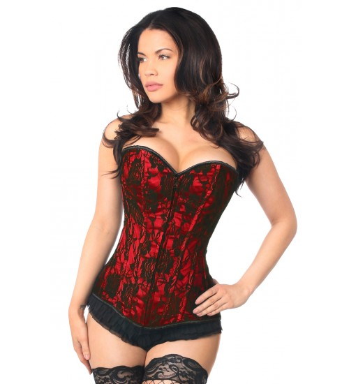 Lavish Red Lace Overlay Overbust Corset at Burlesque Diva, Celebrate Burlesque - Costumes, Shoes, and Accessories for Performers
