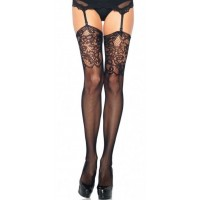 Black Fishnet Stockings with Lace Jacquard Top