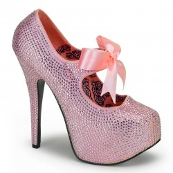 Baby Pink Rhinestone Teeze Platform Pump Burlesque Diva Celebrate Burlesque - Costumes, Shoes, and Accessories for Performers