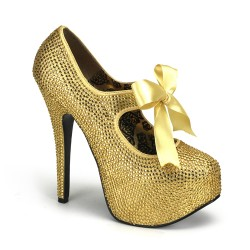 Gold Rhinestone Teeze Platform Pump Burlesque Diva Celebrate Burlesque - Costumes, Shoes, and Accessories for Performers