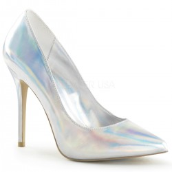 Amuse Silver Hologram 5 Inch High Heel Pump Burlesque Diva Celebrate Burlesque - Costumes, Shoes, and Accessories for Performers