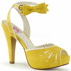 Vintage Bettie Yellow Ankle Bow Peep Toe Pump Burlesque Diva Celebrate Burlesque - Costumes, Shoes, and Accessories for Performers