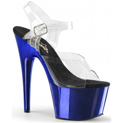 Blue Chrome Platform Clear Strap Platform Sandal Burlesque Diva Celebrate Burlesque - Costumes, Shoes, and Accessories for Performers