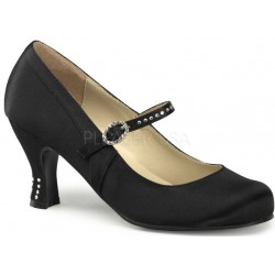 Flapper Black Satin Mary Jane Pump Burlesque Diva Celebrate Burlesque - Costumes, Shoes, and Accessories for Performers