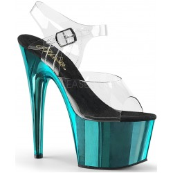 Turquoise Chrome Platform Clear Strap Platform Sandal Burlesque Diva Celebrate Burlesque - Costumes, Shoes, and Accessories for Performers