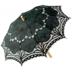 Black Battenburg Lace Parasol Burlesque Diva Celebrate Burlesque - Costumes, Shoes, and Accessories for Performers