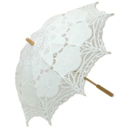 White Battenburg Lace Parasol Burlesque Diva Celebrate Burlesque - Costumes, Shoes, and Accessories for Performers