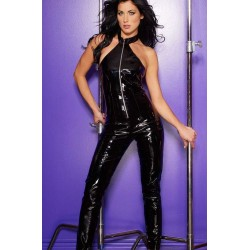 Black Vinyl Halter Neck Catsuit Burlesque Diva Celebrate Burlesque - Costumes, Shoes, and Accessories for Performers