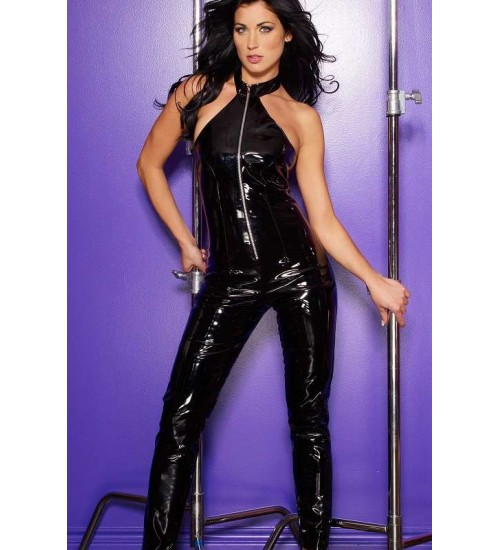 Black Vinyl Halter Neck Catsuit at Burlesque Diva, Celebrate Burlesque - Costumes, Shoes, and Accessories for Performers