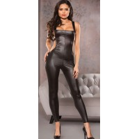 Black Open Back Wet Look Lycra Catsuit