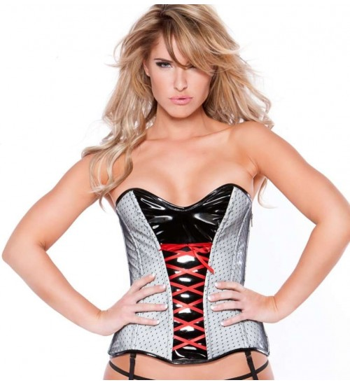 Clarissa Black and Gray Vinyl Corset at Burlesque Diva, Celebrate Burlesque - Costumes, Shoes, and Accessories for Performers