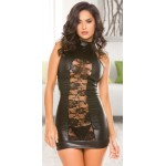 Lace Panel Halter Black Mini Dress at Burlesque Diva, Celebrate Burlesque - Costumes, Shoes, and Accessories for Performers