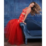 Fantasy Mermaid Red Cage Strap Gown at Burlesque Diva, Celebrate Burlesque - Costumes, Shoes, and Accessories for Performers
