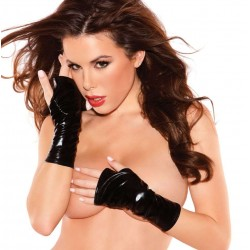 Black Wet Look Fingerless Gloves Burlesque Diva Celebrate Burlesque - Costumes, Shoes, and Accessories for Performers