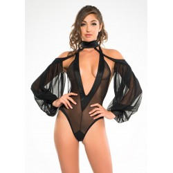 Heavenly Body Drop Sleeve Black Bodysuit Burlesque Diva Celebrate Burlesque - Costumes, Shoes, and Accessories for Performers