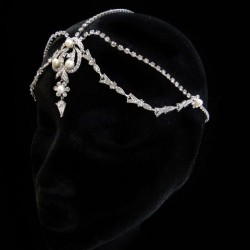 White Pearl and Rhinestone Forehead Drop Headpiece Burlesque Diva Celebrate Burlesque - Costumes, Shoes, and Accessories for Performers