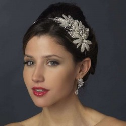 Silver Leaf and Pearl Bridal Headband Burlesque Diva Celebrate Burlesque - Costumes, Shoes, and Accessories for Performers