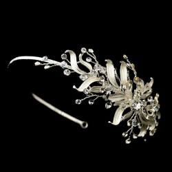 Silver Floral Vine Side Accented Bridal Headpiece Burlesque Diva Celebrate Burlesque - Costumes, Shoes, and Accessories for Performers