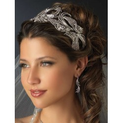 Deco Style Rhinestone Wide Silver Headband Burlesque Diva Celebrate Burlesque - Costumes, Shoes, and Accessories for Performers