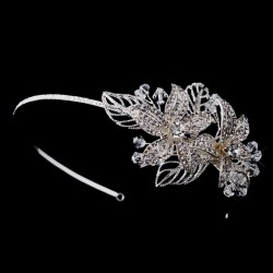 Flower Accented Silver Headband Burlesque Diva Celebrate Burlesque - Costumes, Shoes, and Accessories for Performers