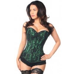 Lavish Green Lace Overlay Overbust Corset Burlesque Diva Celebrate Burlesque - Costumes, Shoes, and Accessories for Performers