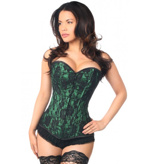 Lavish Green Lace Overlay Overbust Corset at Burlesque Diva, Celebrate Burlesque - Costumes, Shoes, and Accessories for Performers