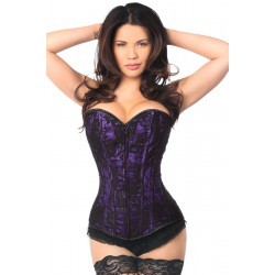 Lavish Purple Lace Overlay Overbust Corset Burlesque Diva Celebrate Burlesque - Costumes, Shoes, and Accessories for Performers
