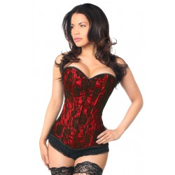 Lavish Red Lace Overlay Overbust Corset Burlesque Diva Celebrate Burlesque - Costumes, Shoes, and Accessories for Performers
