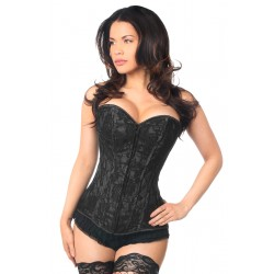 Lavish Black Lace Overlay Overbust Corset Burlesque Diva Celebrate Burlesque - Costumes, Shoes, and Accessories for Performers