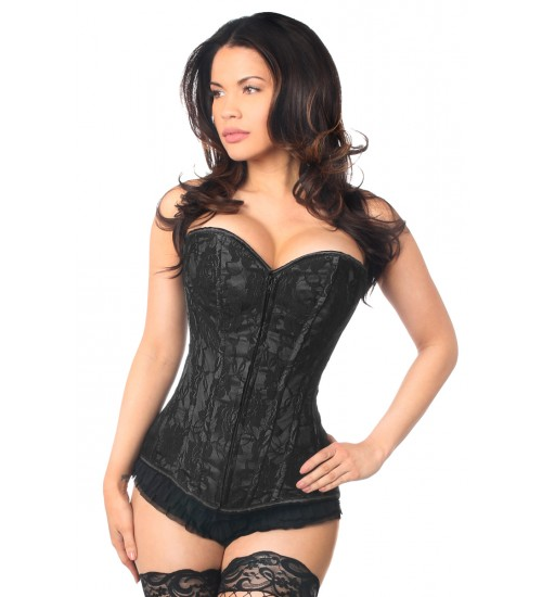 Lavish Black Lace Overlay Overbust Corset at Burlesque Diva, Celebrate Burlesque - Costumes, Shoes, and Accessories for Performers