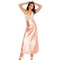 Peaches and Cream Charmeuse Satin Halter Gown Burlesque Diva Celebrate Burlesque - Costumes, Shoes, and Accessories for Performers