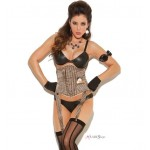 Tan Pinstripe Waist Cincher with Pocket Watch at Burlesque Diva, Celebrate Burlesque - Costumes, Shoes, and Accessories for Performers