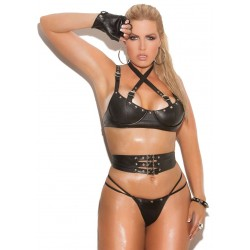 Leather 3 Piece Fetish Bra Set Burlesque Diva Celebrate Burlesque - Costumes, Shoes, and Accessories for Performers