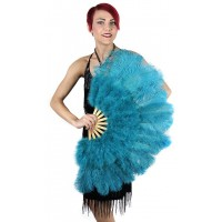 Aqua Blue Ostrich and Marabou Feather Fan