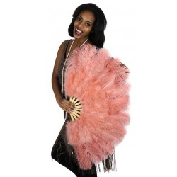 Apricot Blush Ostrich and Marabou Feather Fan Burlesque Diva Celebrate Burlesque - Costumes, Shoes, and Accessories for Performers