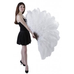 White Ostrich Feather Xtra Large Fan Burlesque Diva Celebrate Burlesque - Costumes, Shoes, and Accessories for Performers