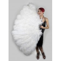White Ostrich Feather Full Body Fan