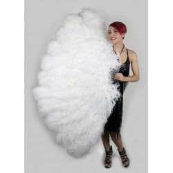 White Ostrich Feather Full Body Fan Burlesque Diva Celebrate Burlesque - Costumes, Shoes, and Accessories for Performers