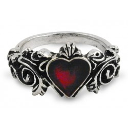 Betrothal Gothic Heart Pewter Ring Burlesque Diva Celebrate Burlesque - Costumes, Shoes, and Accessories for Performers