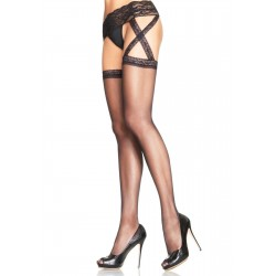 Criss Cross Sheer Black Suspender Stockings  - Pack of 3 Burlesque Diva Celebrate Burlesque - Costumes, Shoes, and Accessories for Performers
