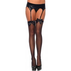 Satin Bow Sheer Thigh High Garter Stockings Burlesque Diva Celebrate Burlesque - Costumes, Shoes, and Accessories for Performers