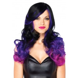 Allure Black Wig with Purple Tips Burlesque Diva Celebrate Burlesque - Costumes, Shoes, and Accessories for Performers