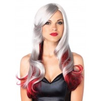 Allure Gray Wig with Red Tips