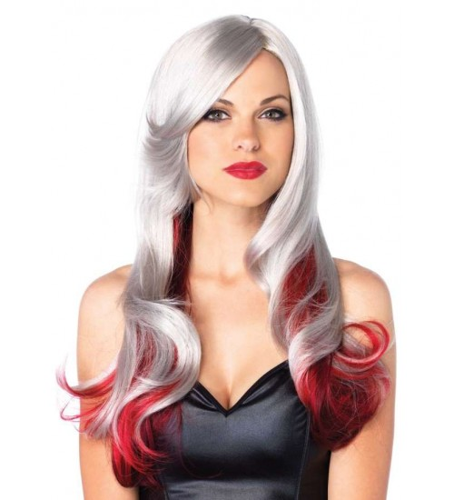 Allure Gray Wig with Red Tips at Burlesque Diva, Celebrate Burlesque - Costumes, Shoes, and Accessories for Performers