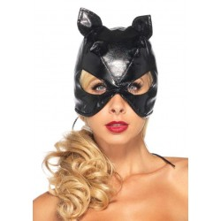 Black Faux Leather Cat Mask Burlesque Diva Celebrate Burlesque - Costumes, Shoes, and Accessories for Performers