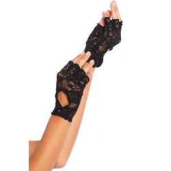Black Lace Keyhole Back Fingerless Gloves Burlesque Diva Celebrate Burlesque - Costumes, Shoes, and Accessories for Performers
