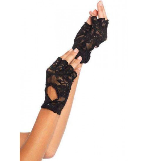 Black Lace Keyhole Back Fingerless Gloves at Burlesque Diva, Celebrate Burlesque - Costumes, Shoes, and Accessories for Performers