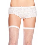 White Micromesh Ruffle Plus Size Tanga Short at Burlesque Diva, Celebrate Burlesque - Costumes, Shoes, and Accessories for Performers